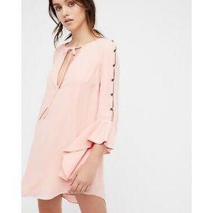 Georgina pink button bell sleeve silky pink dress